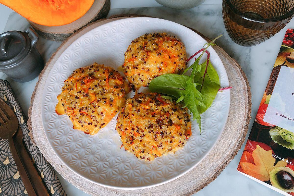 Galettes quinoa au cumin et potimarron, salade de mâche