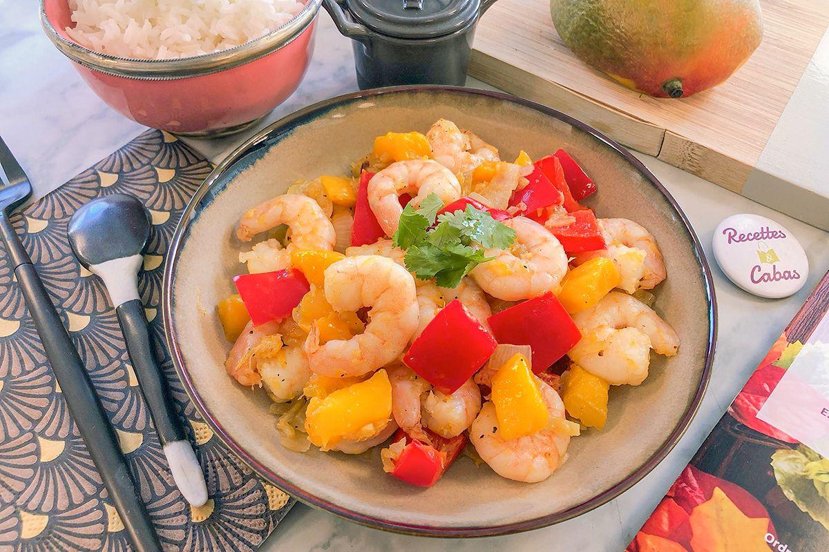 Sauté de crevettes à la mangue, riz