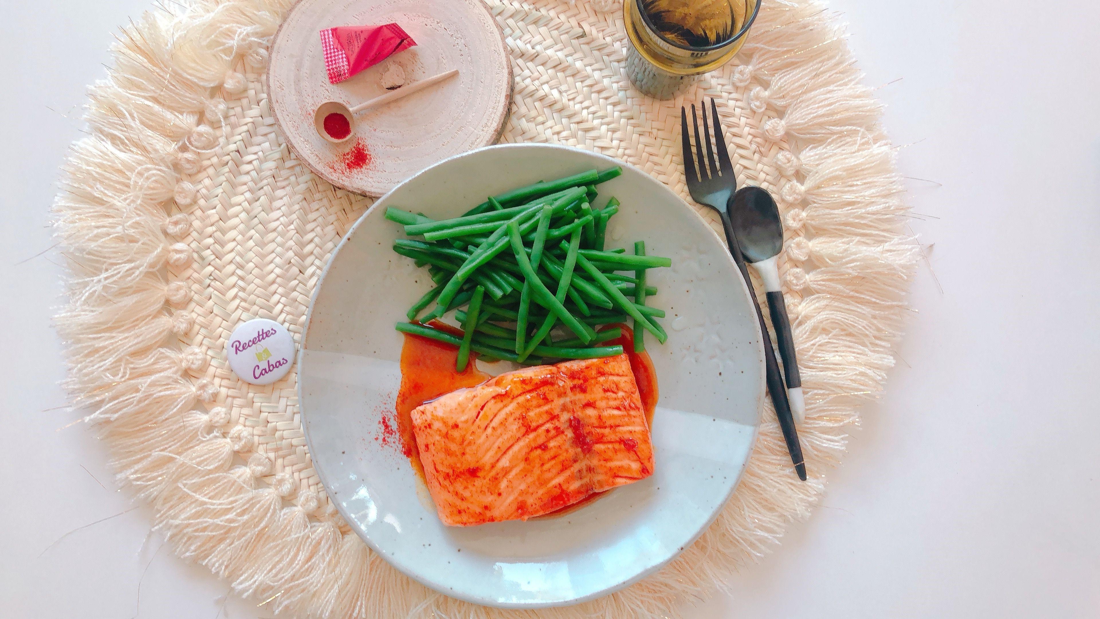 Pavés de saumon au miel et paprika, haricots verts Express