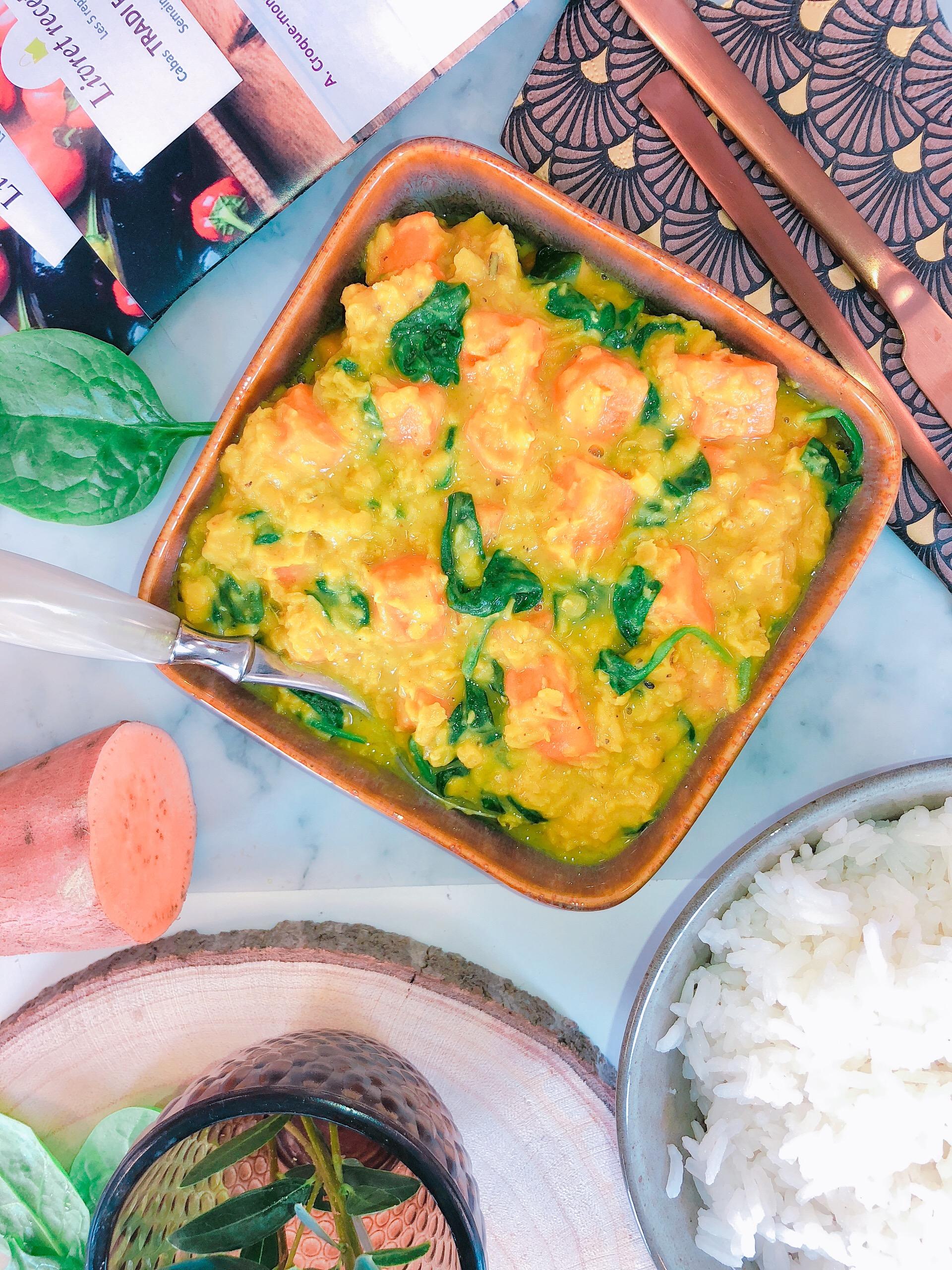 Curry de lentilles et patates douces