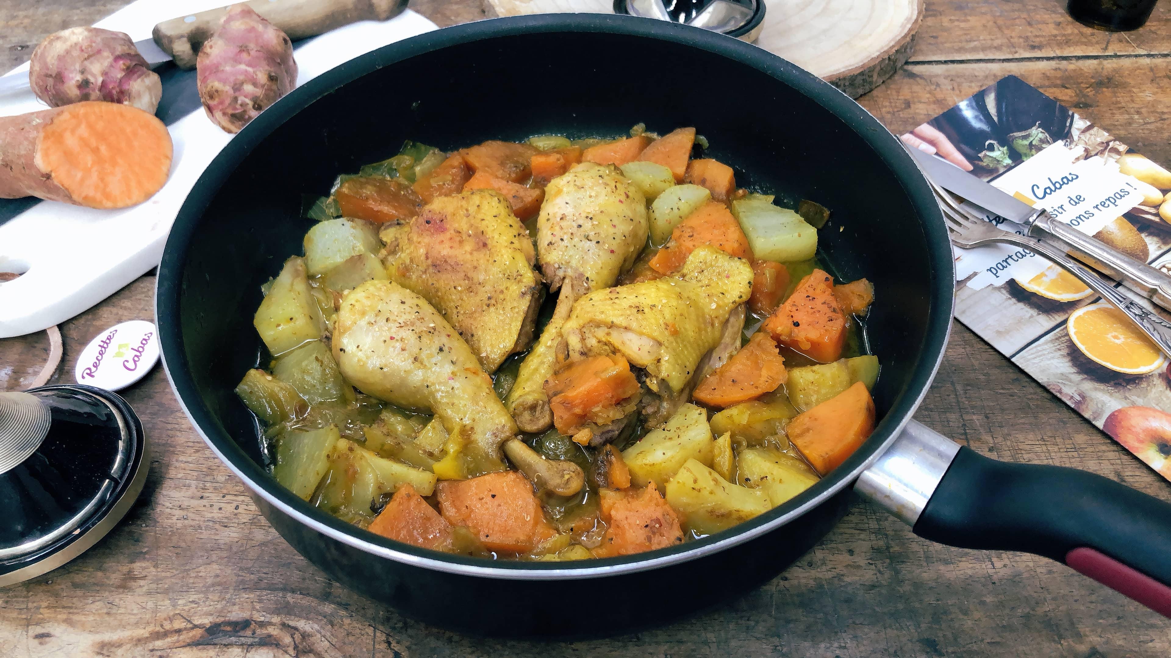 Tajine de poulet et légumes anciens au citron confit