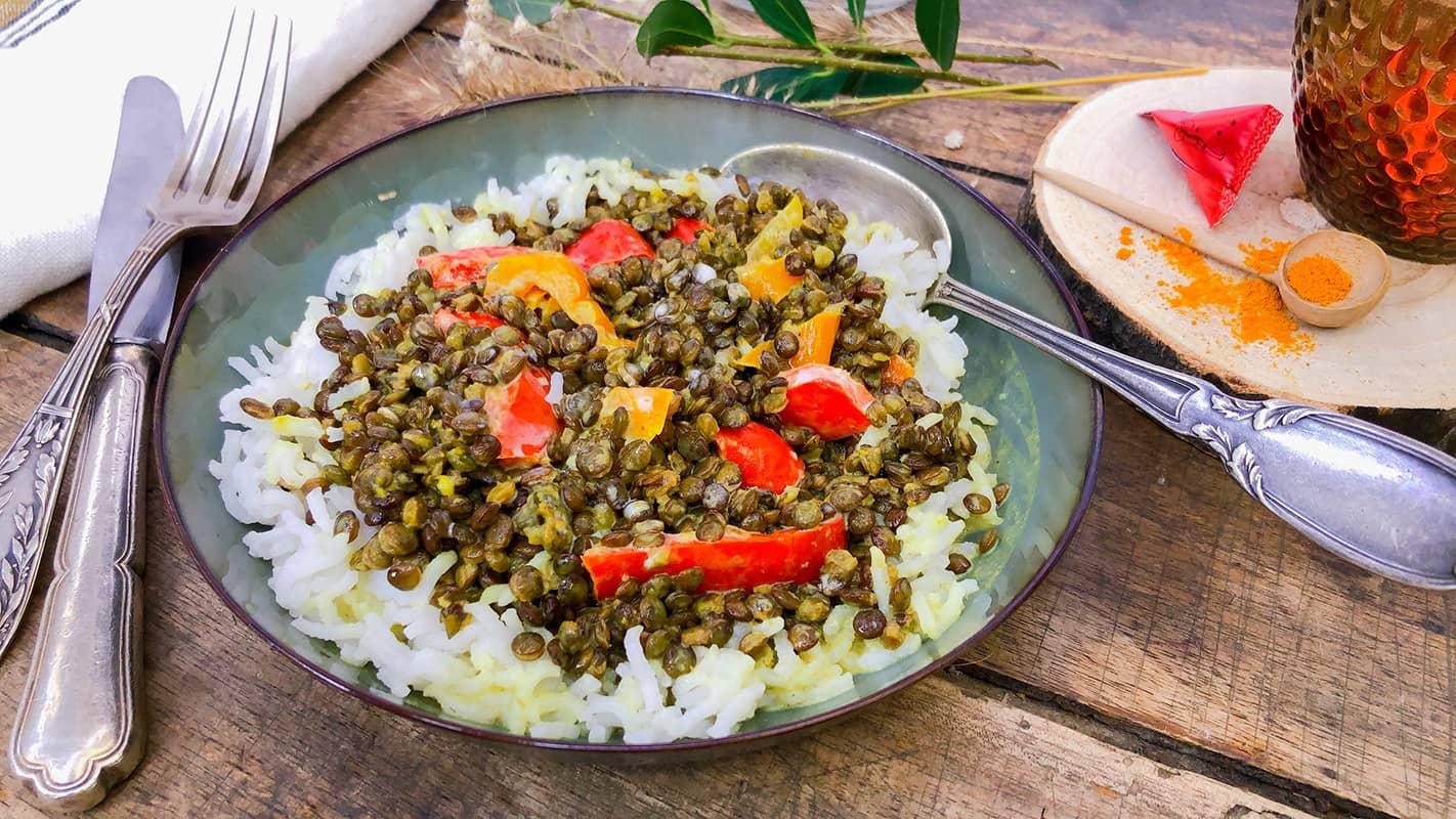 Curry de lentilles aux poivrons confits